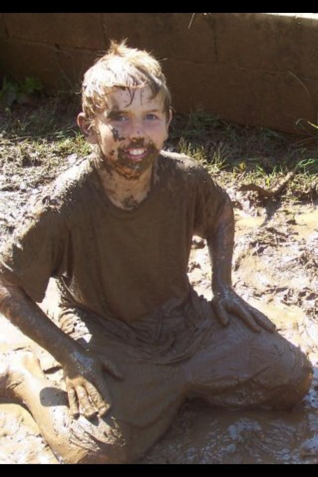 He is enveloped in mud.